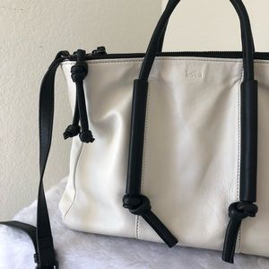 Kooba White Bag w/Black Handles & Straps
